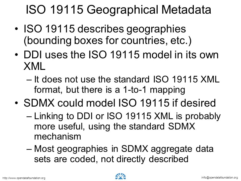 ISO 19115 Geographical Metadata