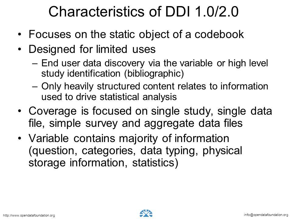 Characteristics of DDI 1.0/2.0