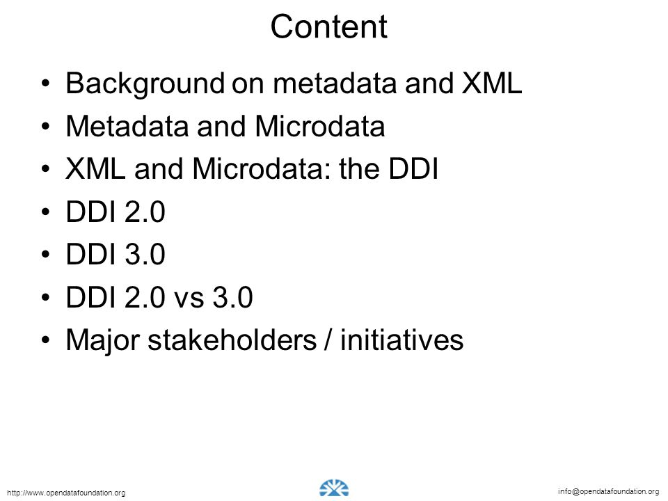 Content Background on metadata and XML Metadata and Microdata