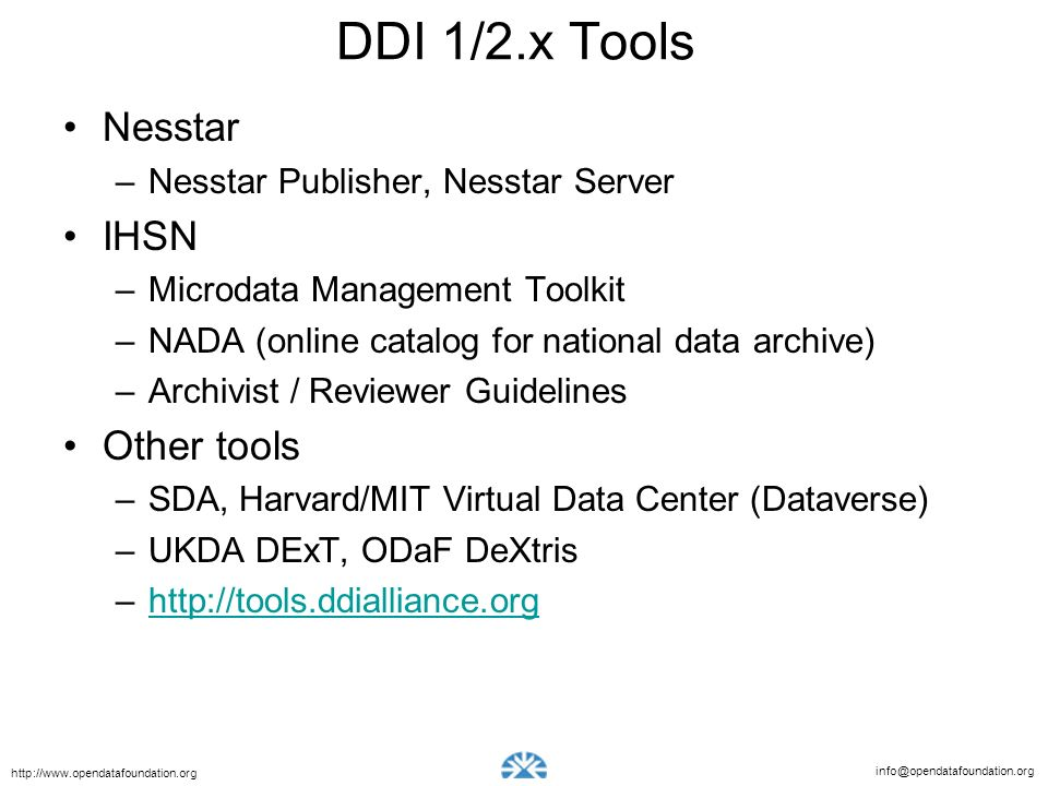 DDI 1/2.x Tools Nesstar IHSN Other tools