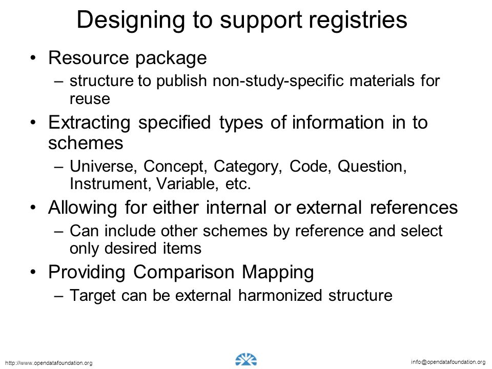 Designing to support registries