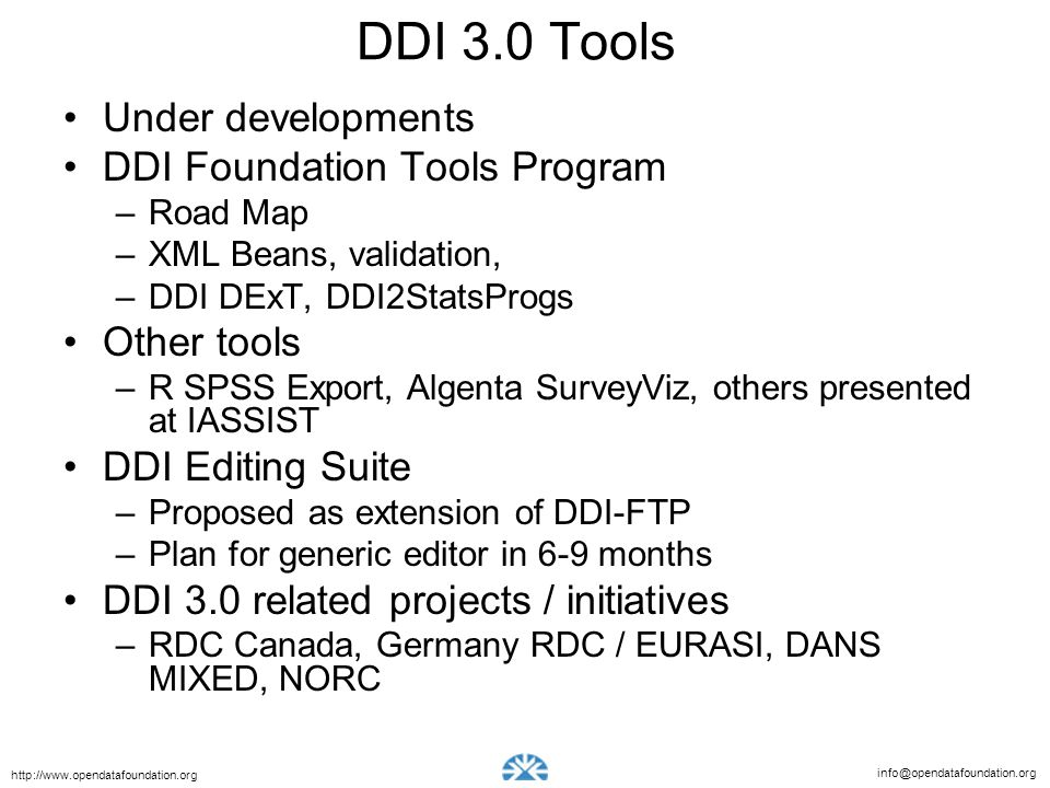 DDI 3.0 Tools Under developments DDI Foundation Tools Program