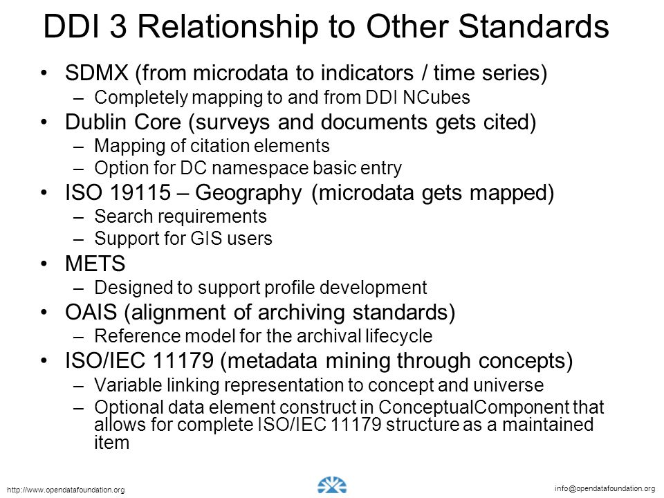 DDI 3 Relationship to Other Standards