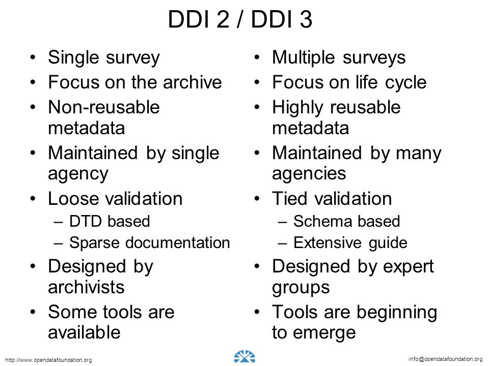 DDI 2 / DDI 3 Single survey Focus on the archive Non-reusable metadata