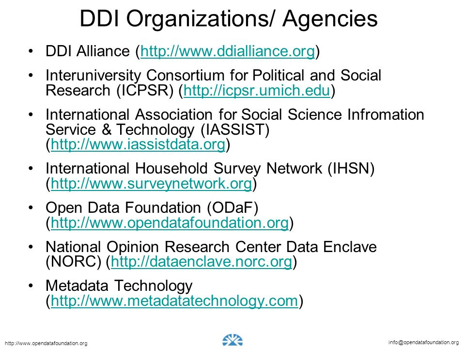 DDI Organizations/ Agencies