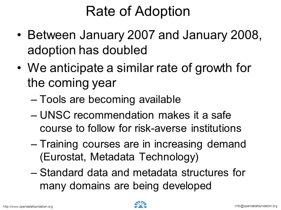 Rate of Adoption Between January 2007 and January 2008, adoption has doubled. We anticipate a similar rate of growth for the coming year.