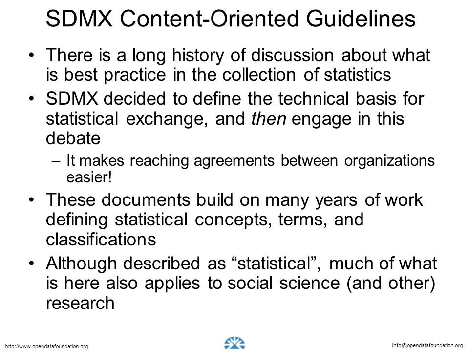 SDMX Content-Oriented Guidelines