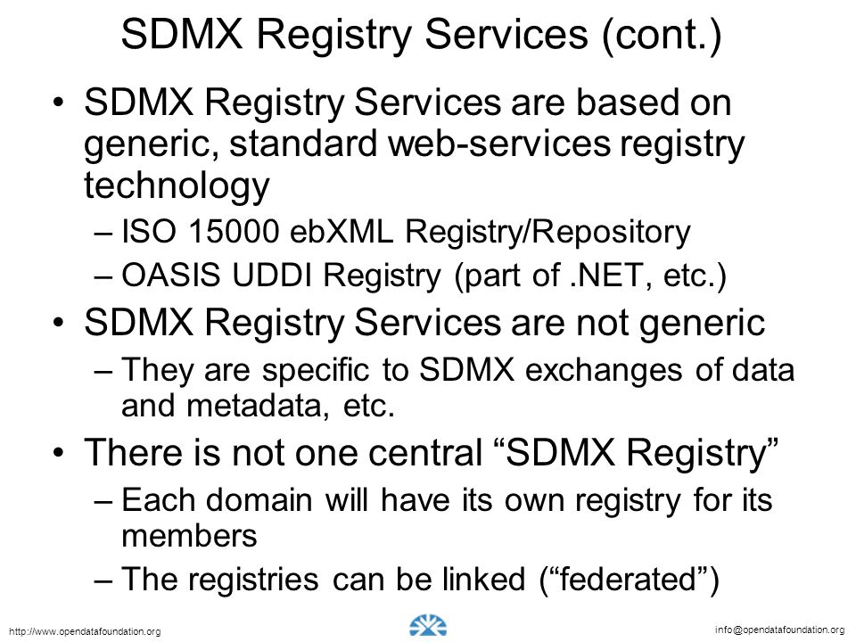 SDMX Registry Services (cont.)