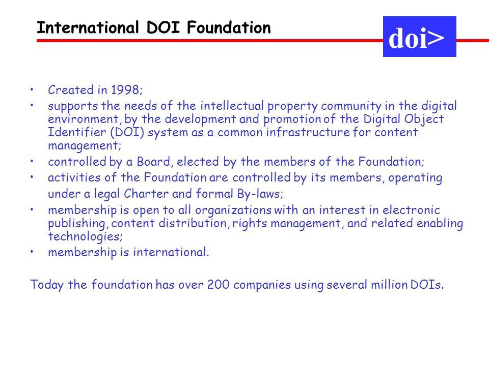 doi> International DOI Foundation Created in 1998;