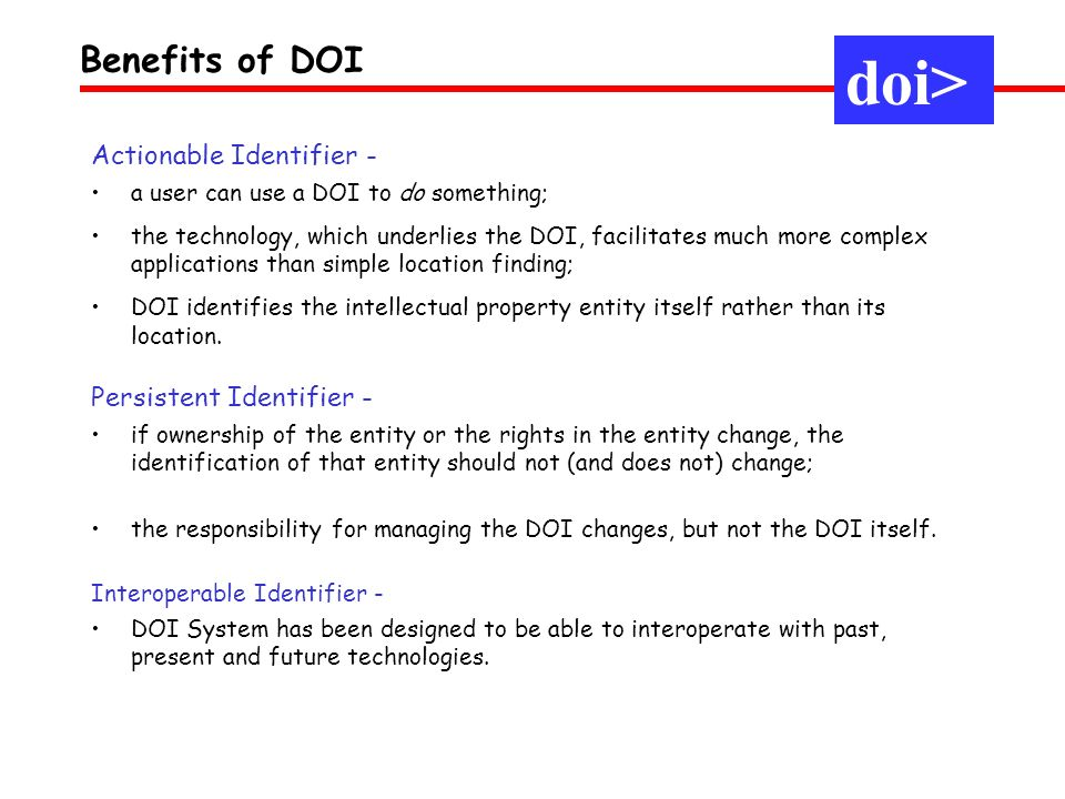 doi> Benefits of DOI Actionable Identifier -