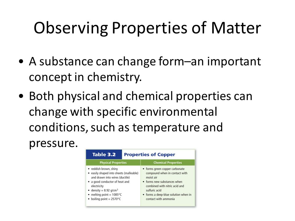 Observing Properties of Matter