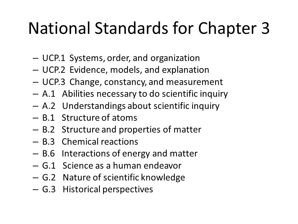 National Standards for Chapter 3