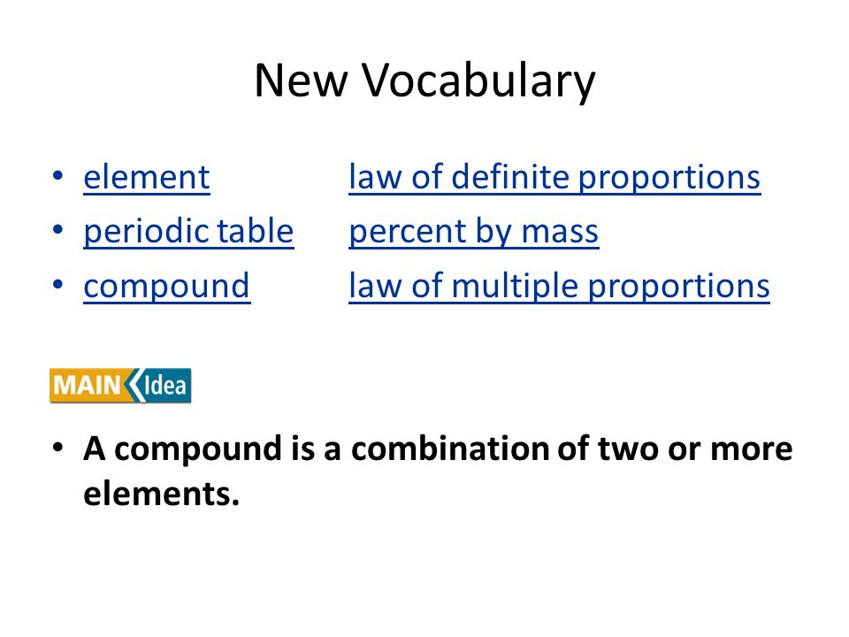New Vocabulary element law of definite proportions