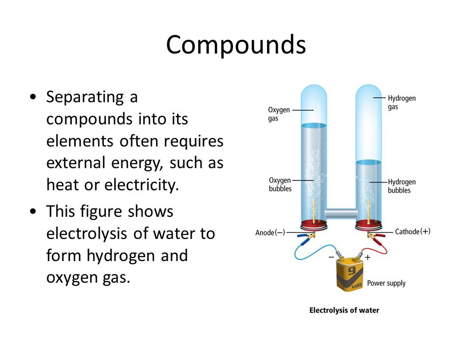 Compounds Separating a compounds into its elements often requires external energy, such as heat or electricity.