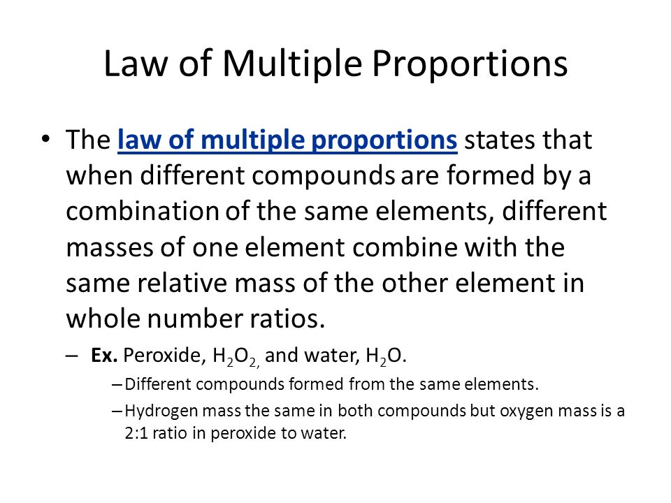 Matter Properties and Change ppt download – Law of Multiple Proportions Worksheet