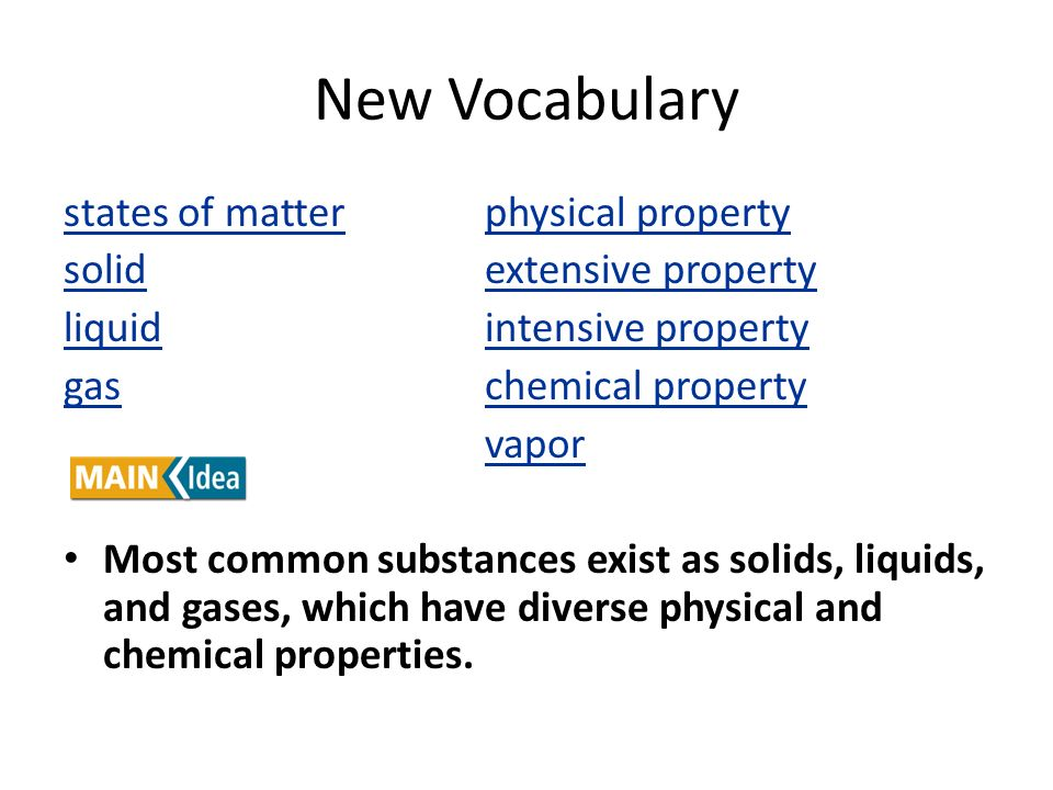 New Vocabulary states of matter physical property