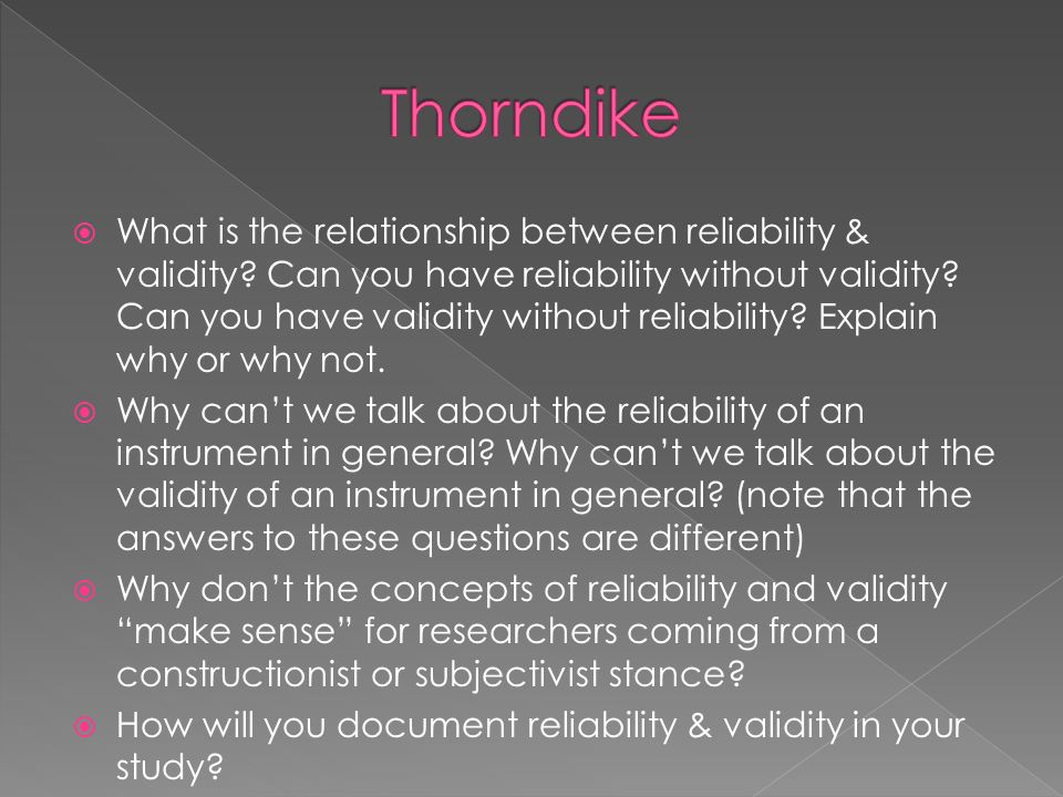 a discussion on the difference between reliability and validity Answer to discuss the difference between validity and reliability define a group and explain the differences between primary and.