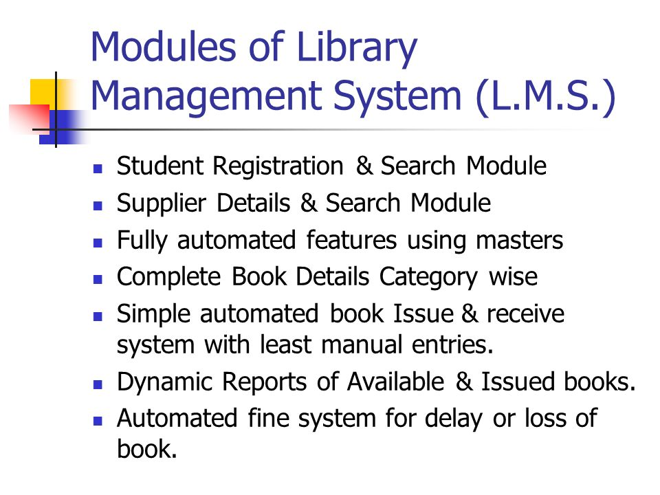 automated library management system Design and implementation of an automated library system chapter one introduction 11 library system a library can be defined as a room or building where books are kept and referenced it is an area of multifarious activity on book management a library as a repository of.