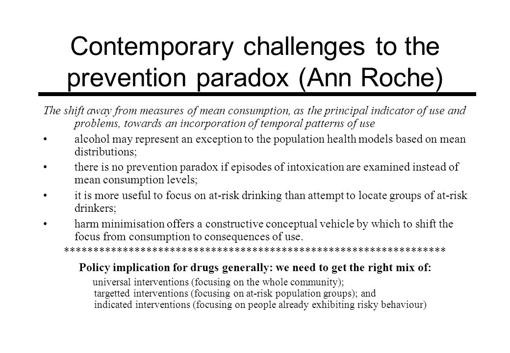 Contemporary challenges to the prevention paradox (Ann Roche)