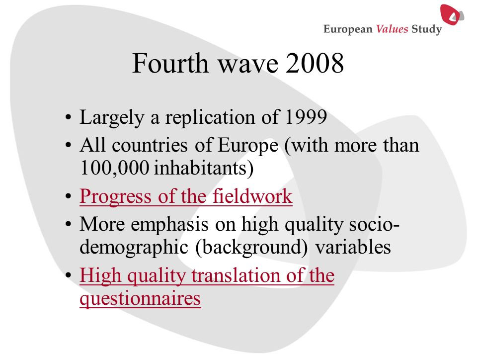 Fourth wave 2008 Largely a replication of 1999