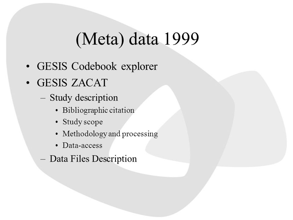 (Meta) data 1999 GESIS Codebook explorer GESIS ZACAT Study description