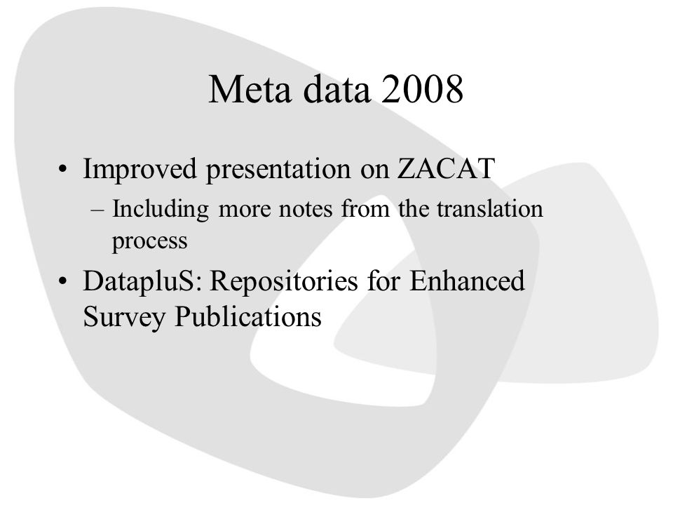 Meta data 2008 Improved presentation on ZACAT