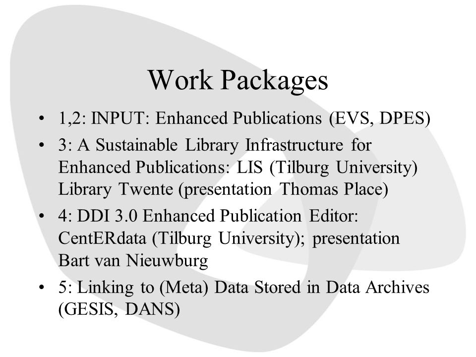 Work Packages 1,2: INPUT: Enhanced Publications (EVS, DPES)