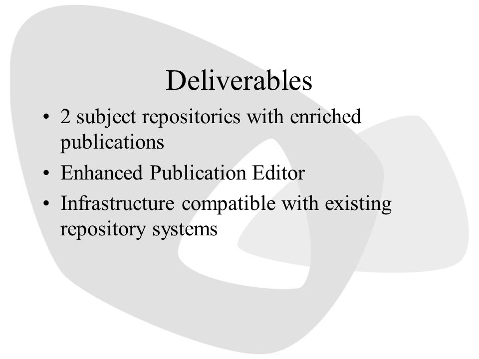 Deliverables 2 subject repositories with enriched publications