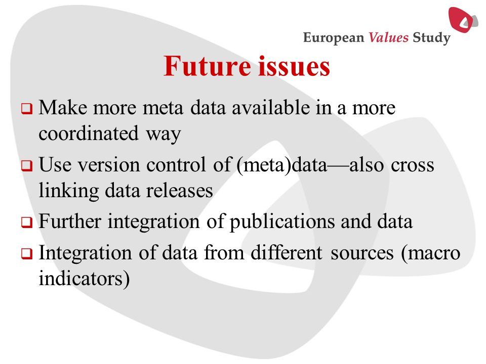 Future issues Make more meta data available in a more coordinated way