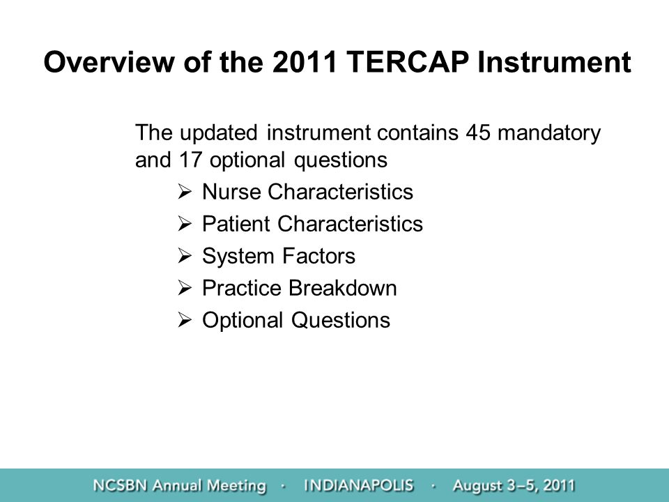 Overview of the 2011 TERCAP Instrument