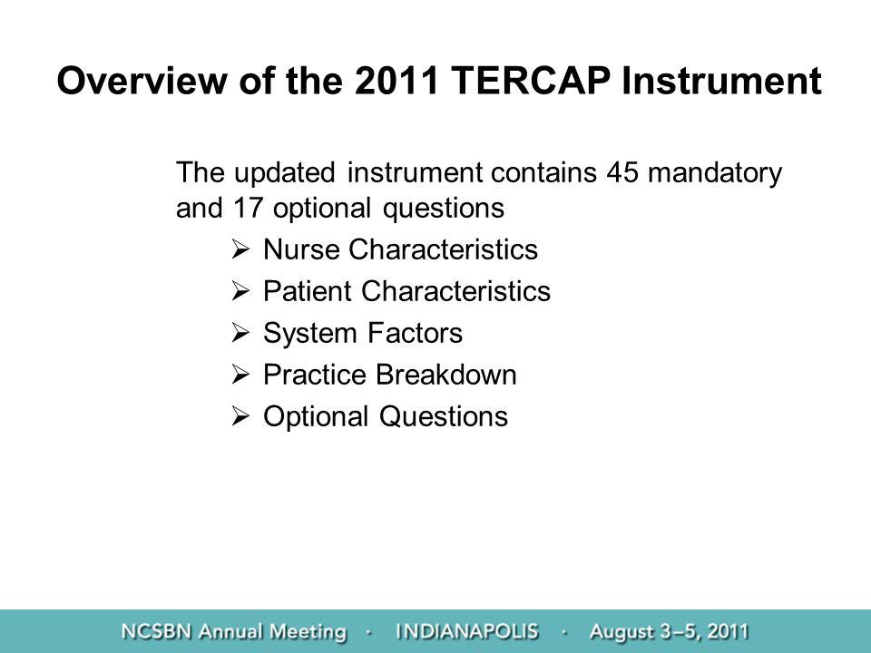 Overview of the 2011 TERCAP Instrument