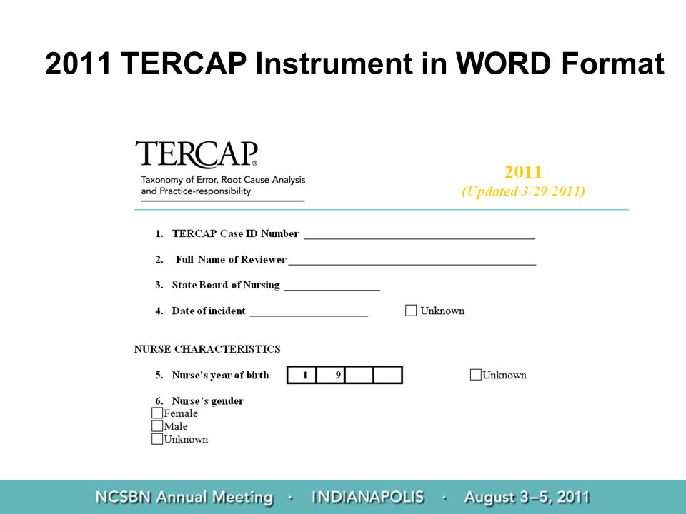 2011 TERCAP Instrument in WORD Format