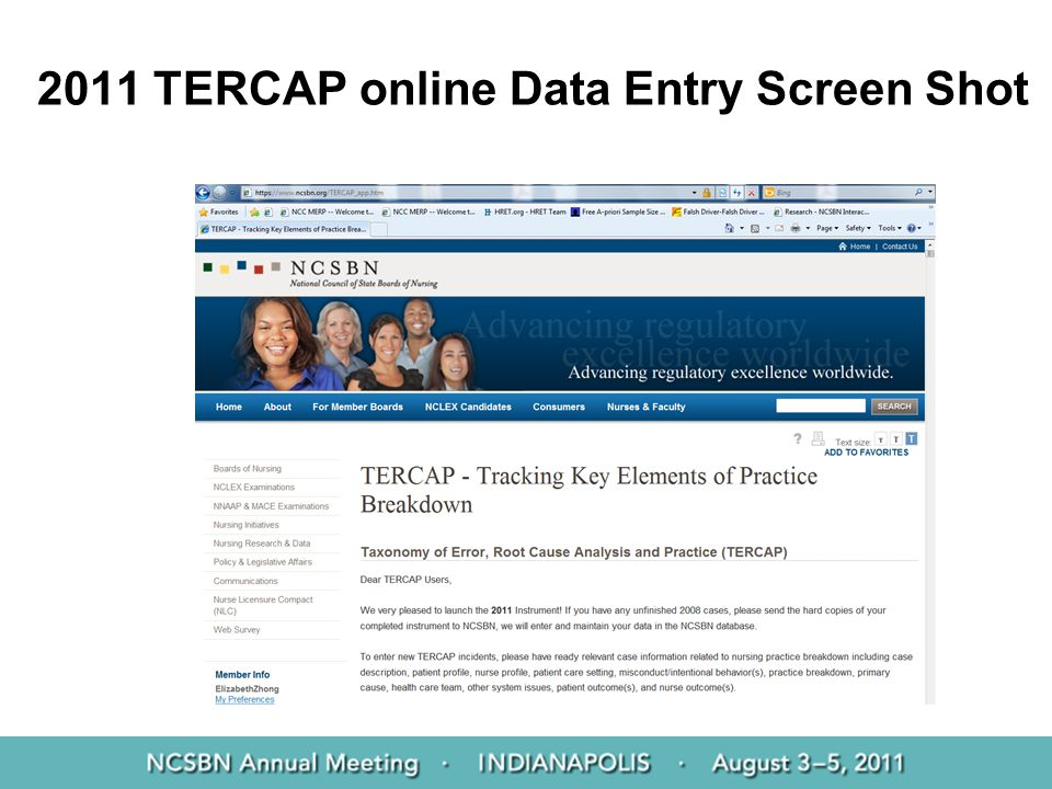 2011 TERCAP online Data Entry Screen Shot