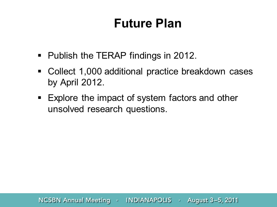 Future Plan Publish the TERAP findings in 2012.
