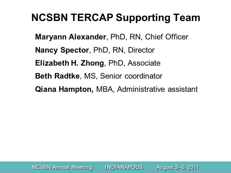NCSBN TERCAP Supporting Team