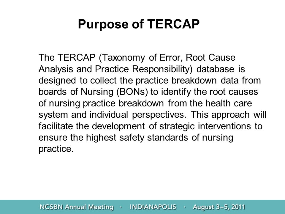 Purpose of TERCAP
