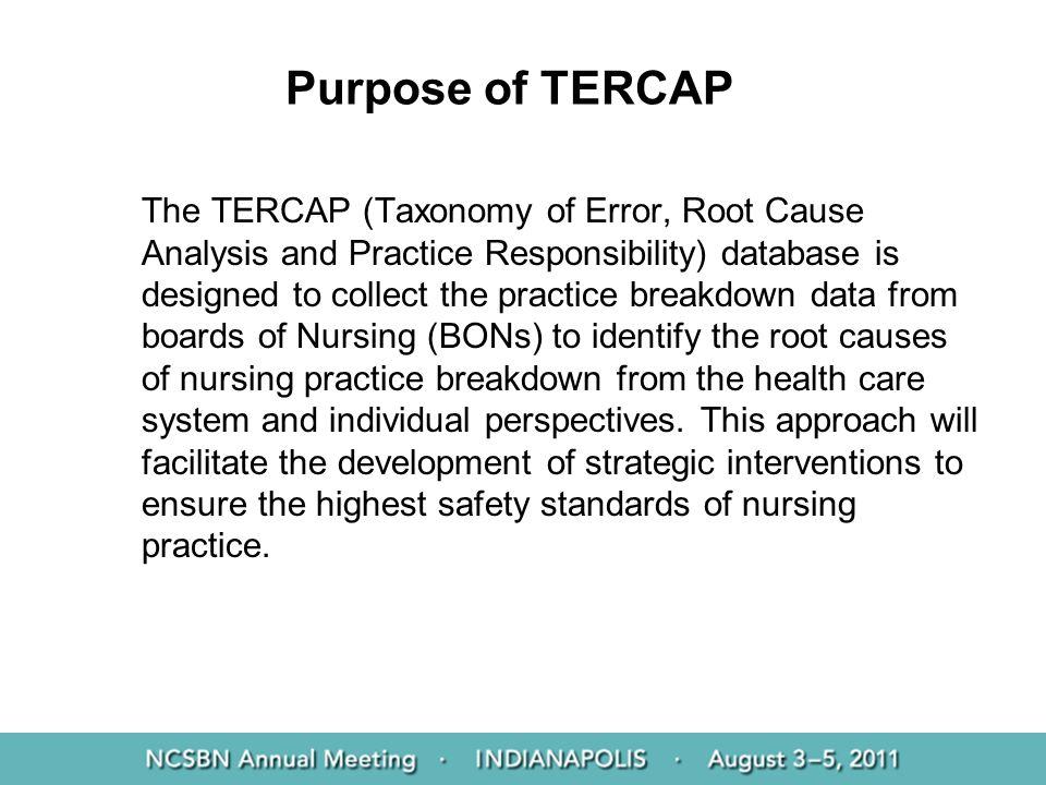 Purpose of TERCAP