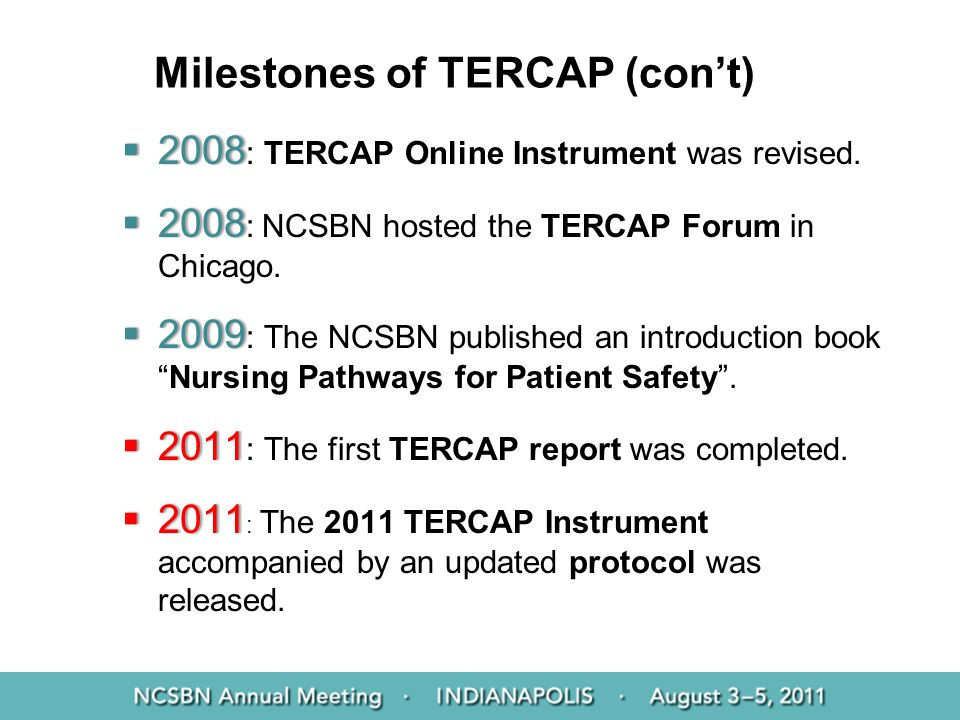Milestones of TERCAP (con't)
