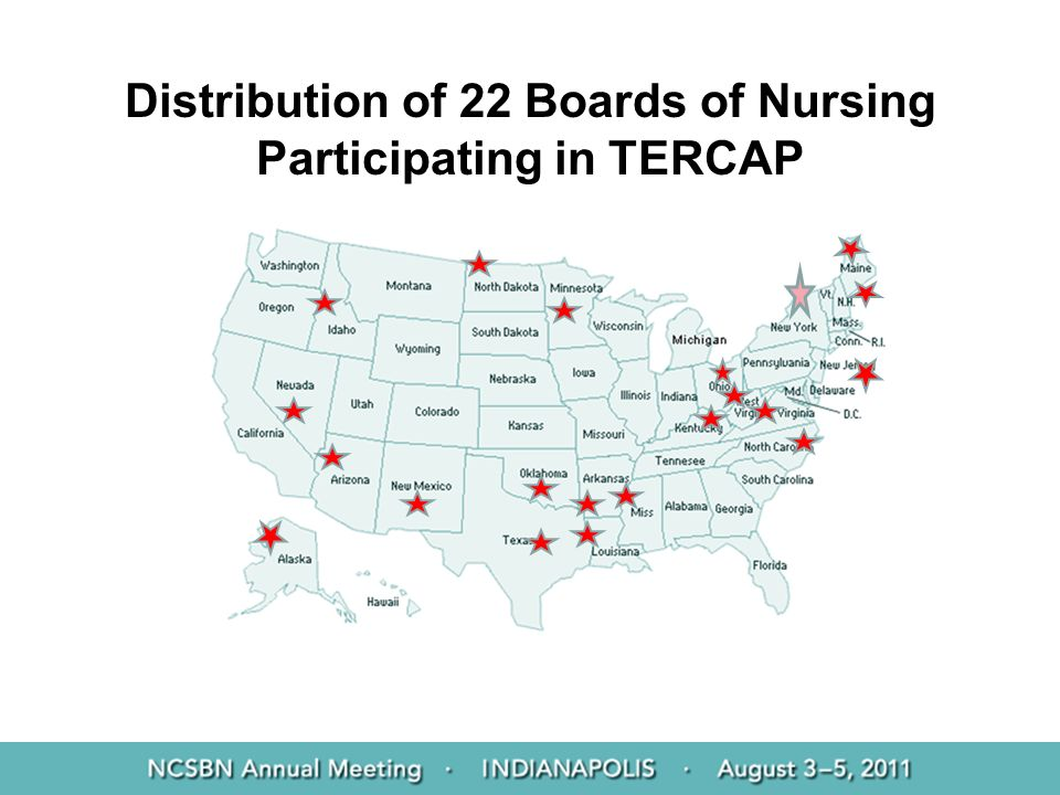 Distribution of 22 Boards of Nursing Participating in TERCAP