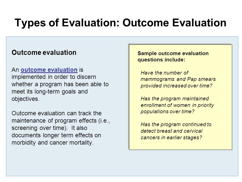 program and outcome evaluations essay Program evaluation is defined as efficiency, effectiveness, and accountability of a   measure the implementation and outcomes of programs for decision-making.