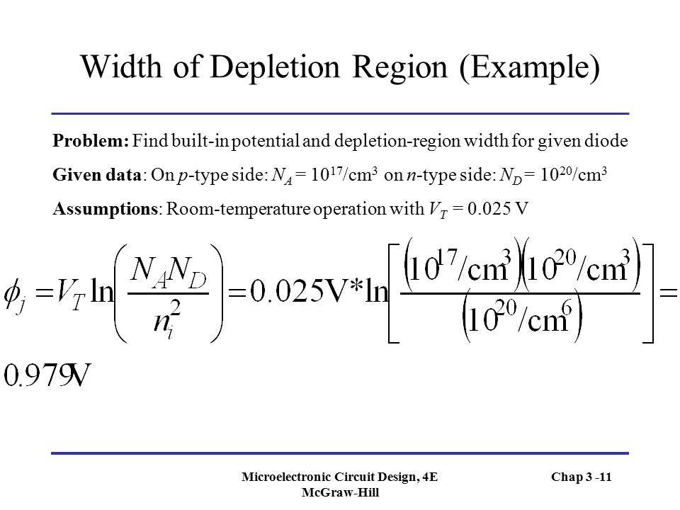 Width of Depletion Region (Example)