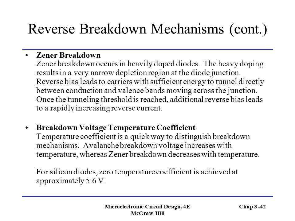 Reverse Breakdown Mechanisms (cont.)