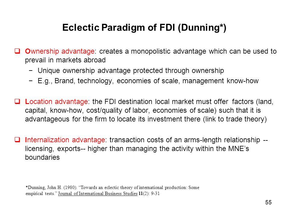 dunning eclectic theory Selon john dunning, les décisions d'internationalisation sont motivées par trois familles d'avantages qui constituent le modèle oli : (ownership advantages), ceux.