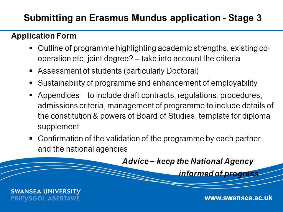Submitting an Erasmus Mundus application - Stage 3