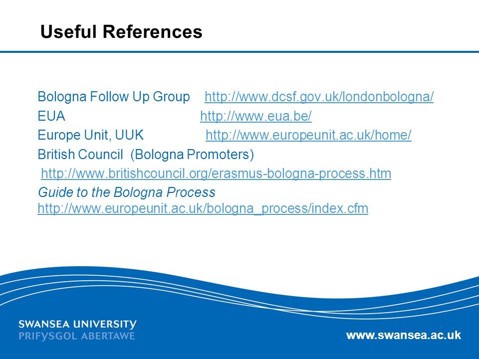 Useful References Bologna Follow Up Group http://www.dcsf.gov.uk/londonbologna/ EUA http://www.eua.be/