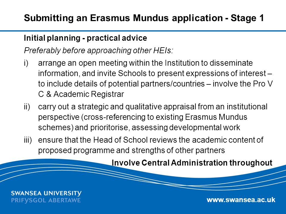 Submitting an Erasmus Mundus application - Stage 1