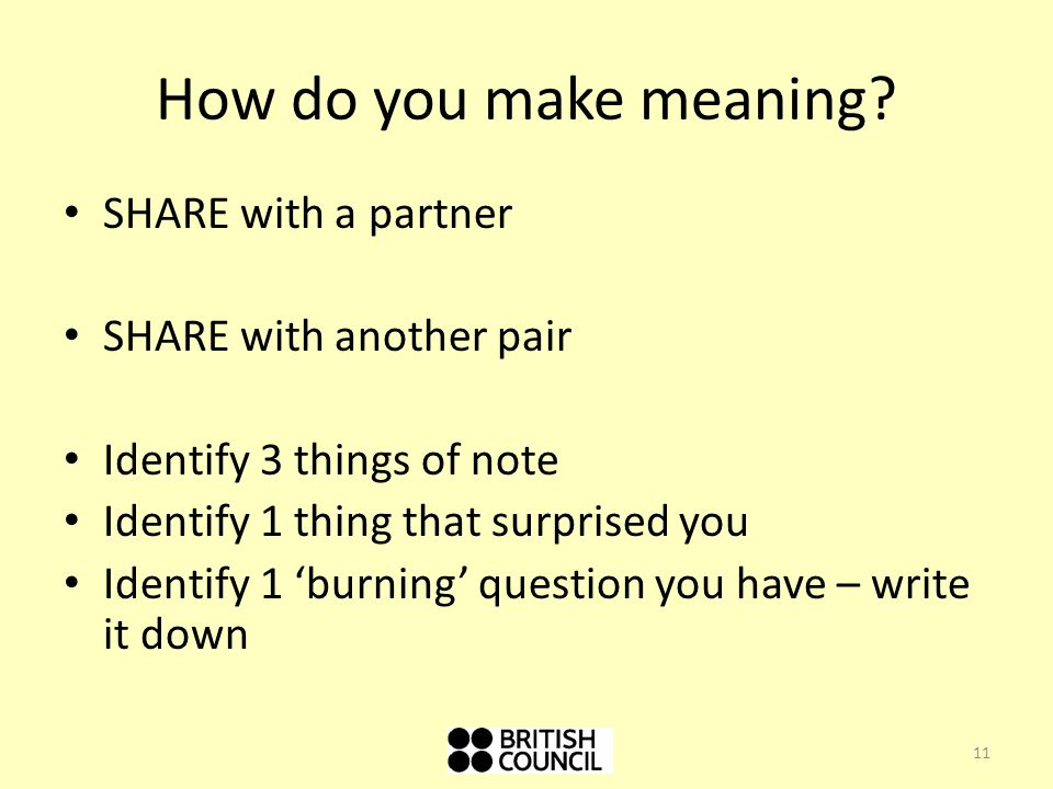 How do you make meaning SHARE with a partner SHARE with another pair
