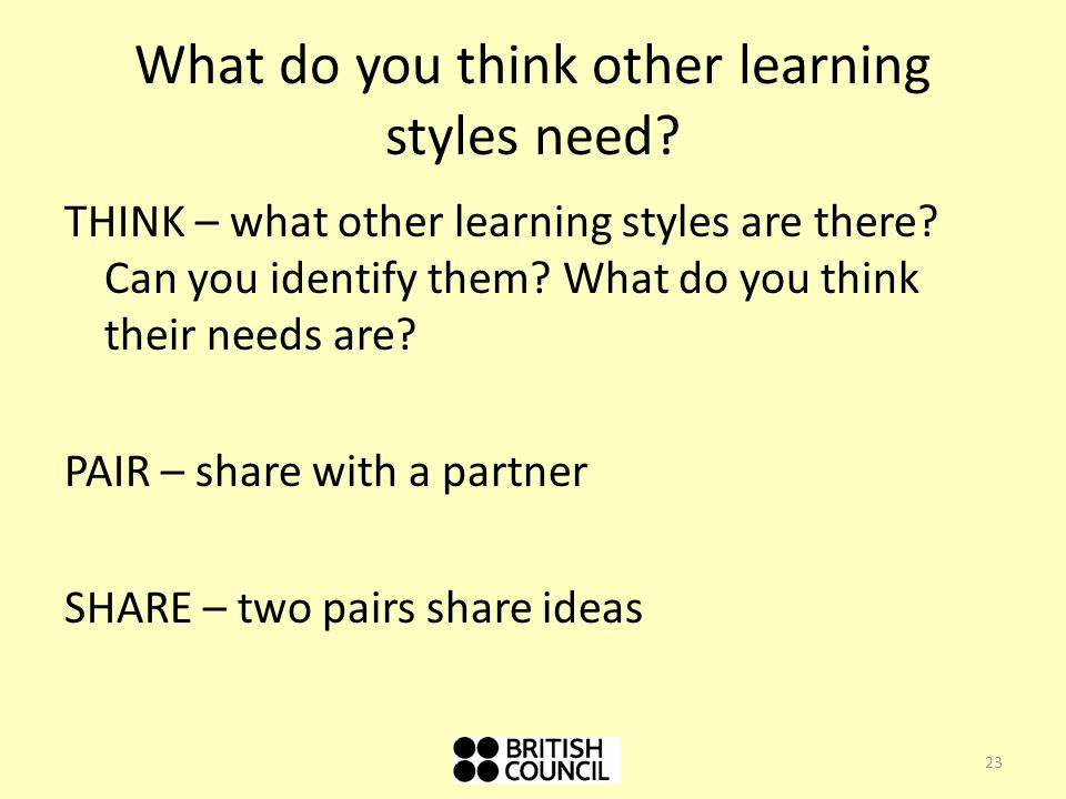 What do you think other learning styles need