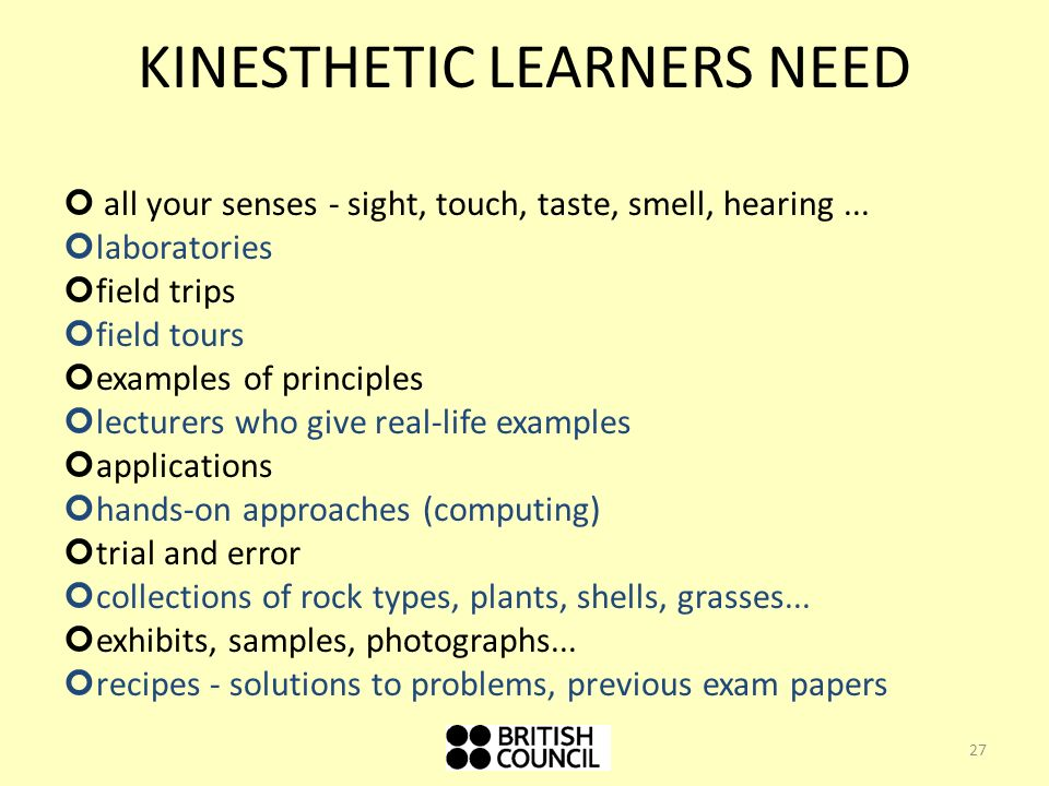 kinesthetic learning 2 essay I see my learning style as, learning from reality itself you take real life approaches to everything especially learning, you try to think of a certain situation from different angles we will write a custom essay sample on kinesthetic learning specifically for you.
