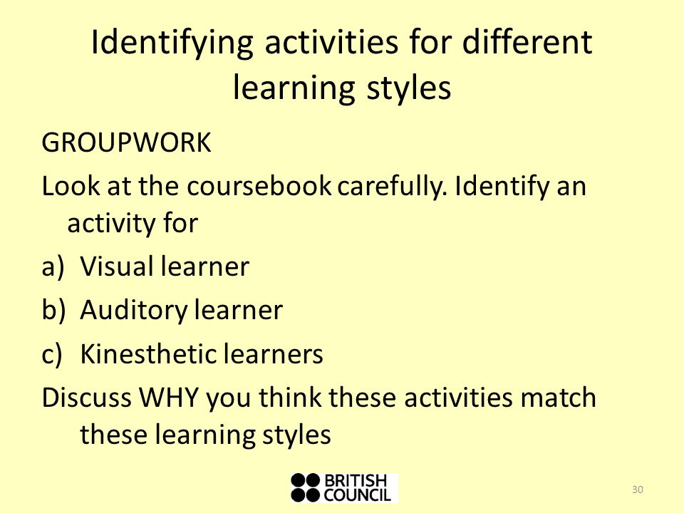 an activity to show the different learning styles This lesson will describe the visual learning style, provide strategies for students, and offer activities that teachers can implement in their.